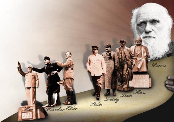 charles darwin komunist diktatorler mao adolf hitler stalin lenin engels trotsky karl marx mussolini